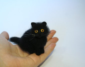 Miniature Needle Felted Cat. Black Cat. Kitty. Green/Yellow Eyes. Realistic Cat. Pet. Felted Animal. Dollhouse Cat. Made to Order.