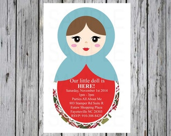 Baby shower invitation  Russian Doll