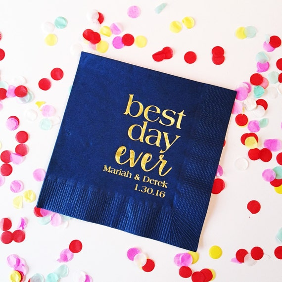 best day ever napkins, cocktail napkins, reception napkins, wedding napkins