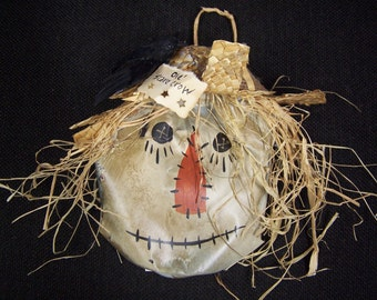 Hand painted recycle crushed soda popcan primitive scarecrow ornament