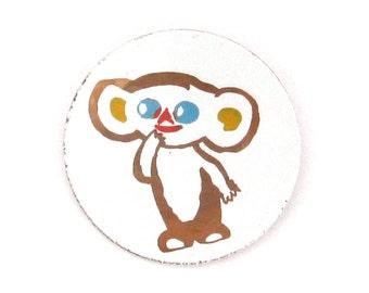 Cheburashka, Rare Badge, Character from soviet cartoon, Vintage collectible badge, Soviet Vintage Pin, Made in USSR