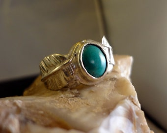 Native American Turquoise, Feather Ring, Handmade, .925 Sterling SZ-8