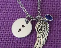 Semicolon Necklace - Semicolon Jewelry - Suicide Loss - Suicide Awareness - Suicide Memorial - Remembrance - Sympathy gift - heart semicolon