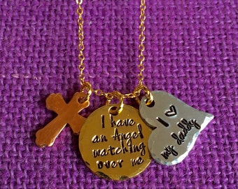 Memorial Jewelry Necklace - I have an angel watching over me. Daddy/Mommy* Keepsake Jewelry - Remembrance Jewelry