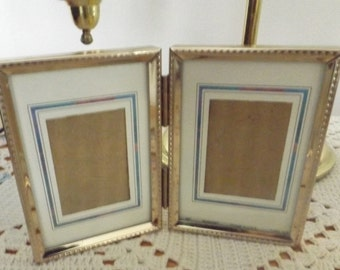 Vintage Double Gold Tone Metal Picture Frame, Self Standing, Hinged