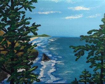 "Oregon Coast Original 11"" x 14"" Acrylic Painting on canvas"