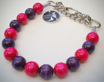 Pink and Purple Dog Collar, Buckle Collars, Martingale Collars, Dog Beads UNBREAKABLE GUARANTEE!