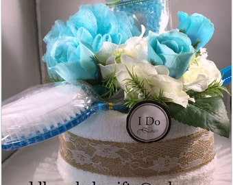 Bridal Shower Wedding Centerpiece Cake made of Towels and Decorations