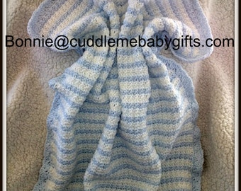 Baby Blue and White Baby Blanket