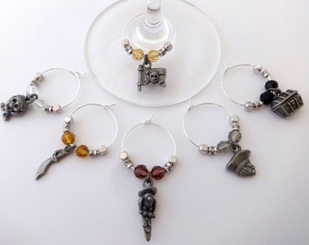 Pirate Wine Charms