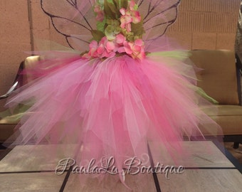 Spring fairy girls flower tulle dress, Fairy Costume, Luxury Dress pink or purple