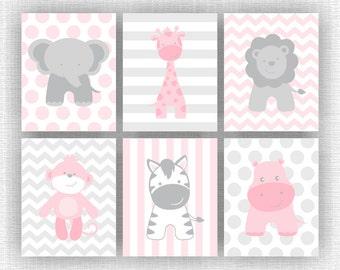 Pink and Gray Jungle Animals nursery Printable, Elephant Giraffe Hippo Lion Monkey Zebra, Jungle Animals Set of 6, 8x10, INSTANT DOWNLOAD