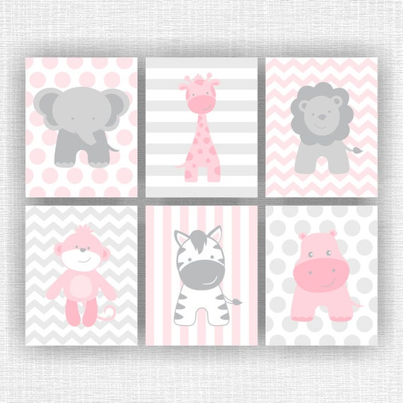 Instant download pink and gray jungle animals nursery for Chambre 8x10