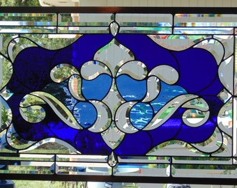 Stained Glass Window Hanging 30 1/2 X 18 1/2