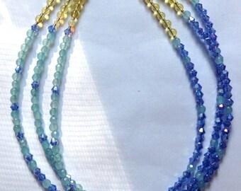 Blue sky- Swarovski, aquamarine, citrine, opal- necklace
