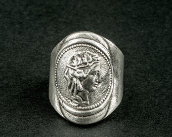 Greek goddess deity ring (Signet Ring in silver / antique / woman /piece coin face)