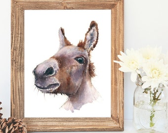 Delores Donkey - Giclee Watercolour print