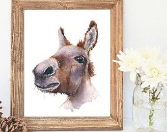 Delores Donkey - Giclee Watercolour print