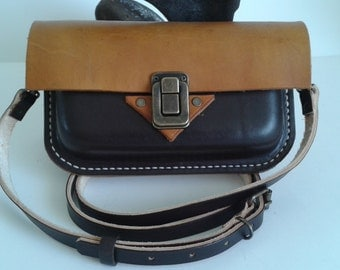 Hand made Leather Art deco style Clutch bag, with shoulder strap