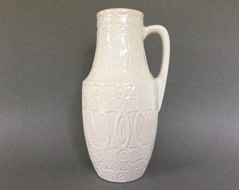 Scheurich  423  -  25 decor: Hellas, Mid Century Modern Funky white handled  vase original 1960s / 1970s  West Germany. WGP