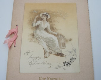 Vintage Poetry Not Knowing written by M. E. Brainard Christmas greeting booklet