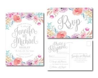 Floral Wedding Invitation & RSVP Postcard Set, Watercolor Floral, Watercolor Invitation, Flower Wedding, Flower Invite, Wedding Set #CL198