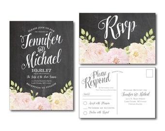 Rustic Wedding Invitation & RSVP Postcard Set - Country Chic - Floral Wedding - Fall Wedding - Rustic Wedding - Printable Wedding Set #CL193