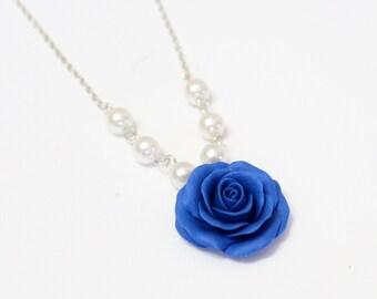 Blue Rose Necklace - Blue Pendant, Rose Charm, Valentine, Love Necklace, Bridesmaid Necklace, Flower Girl Jewelry, Blue Bridesmaid Jewelry