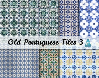 New Portuguese old tiles Scrapbooking - Digital Scrap Paper Pack - 6  Papers 12 x 12