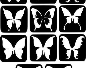 Refill Stencils Only #6 - 11 X Butterflys Glitter Tattoo Stencils Refill Your Glitter Tattoo Kit