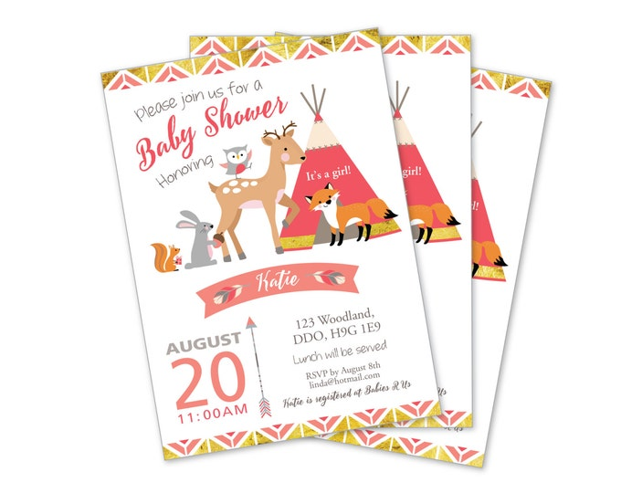 Tepee Woodland Baby Girl Shower Invitation, coral, gold, grey,  Woodland Baby Animals Invite, Tepee, feathers, arrows, tribal inspired