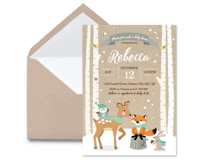 Winter Woodland Baby Shower Invitation / Gender Neutral / Mint / Woodland Fox Invite  / Baby Fox