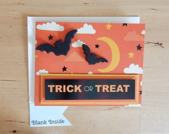 Halloween Card - Trick or Treat Bats and Moon