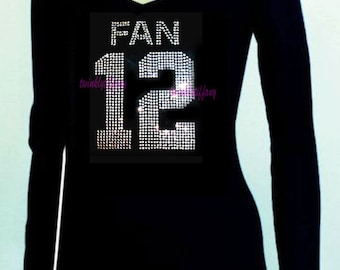 Women's v-neck long sleeve  Seattle Seahawks fan 12th man Rhinestones