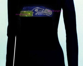 Women's v-neck long sleeve  Seattle Seahawks Rhinestones