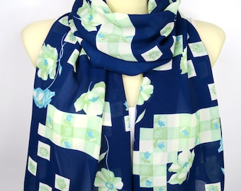 Womens Scarves Blue Floral Scarf Gift for Her Birthday Gift for Women Wife Mom Flower Scarves Fashion Accessories Spring Summer Autumn Boho