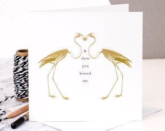 Flamingo Valentines Card; Flamingo Love Card; I Love You Card; Card For Husband; Engagement Card GC027