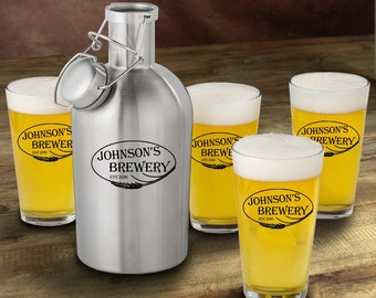 Stainless Steel Growler with Pint Glass Set - Personalized Growler Set - Man Cave Gift - Gifts for Him - GC1437