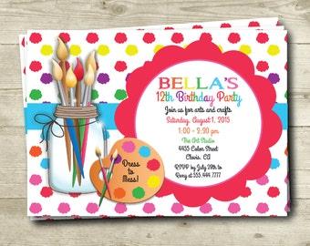 Art Party, Birthday Invitation, Digital File, Personalized, DIY Printable, Paint, Palette, Artist, Create