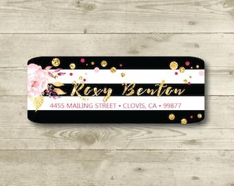 Black & White, Flower, Gold, Return Address Label, Personalized, MATTE, Watercolor Style, Glitter Style