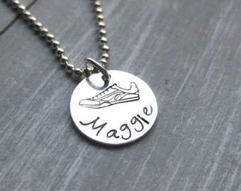 Running Shoe Necklace Sneaker Necklace Sterling Silver Track and Field Jewelry Personalized Jewelry Hand Stamped Teen Gift Idea Marathon