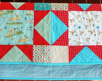 Guess How Much I Love You Rabbit baby quilt in aqua and red cotton