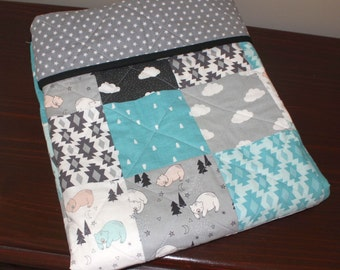 Bonne Nuit modern cotton baby cot quilt in aqua and grey Camelot design fabric.