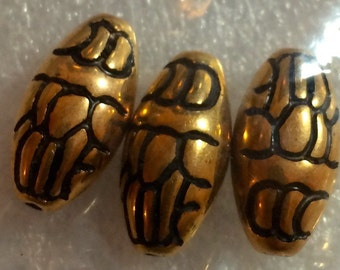 WHOLESALE DARICE 3 Pc Gold And Black Flowered Oval Beads (6-Packs) #06241-27