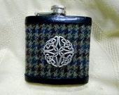 Harris Tweed hip flask blue green brown mens gift Celtic knot christmas gift best man usher groomsman birthday 21st made in Scotland  UK