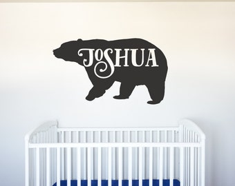 Bear Name - Vinyl Decal Wall Art Decor for Forest Animal Nursery Children Babies