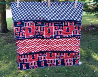 Handmade Baby Security Blanket, Snuggle Rag Quilt, Illinois Baby Gift * READY TO SHIP*