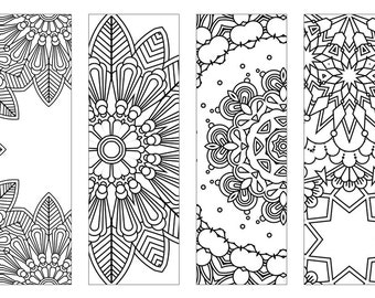 4 Bookmarks,Printable bookmarks, Instant Download, PDF, Mandala Doodling Page, Adult Coloring Pages, Kids Coloring, coloring bookmark