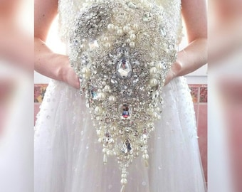 BROOCH BOUQUET Cascading teardrop brooch bouquet with pearls, silver jeweled by MemoryWedding