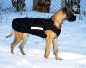Great Dane SoftShell Dog Coat - Black Winter Dog coat - Custom Made Coat -   SoftShell/ Fleece Dog Coat - MADE TO ORDER